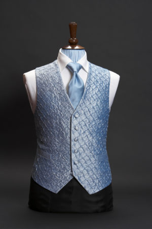 Turquoise blue silk pleated waistcoat