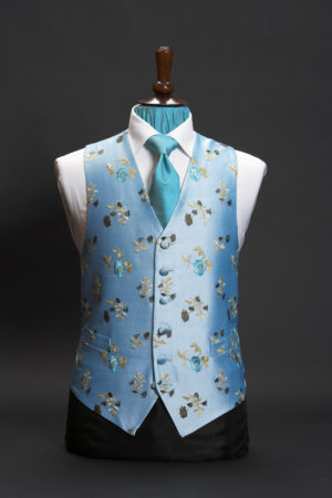 Turquoise blue silk embroidered waistcoat with gold and turquoise roses