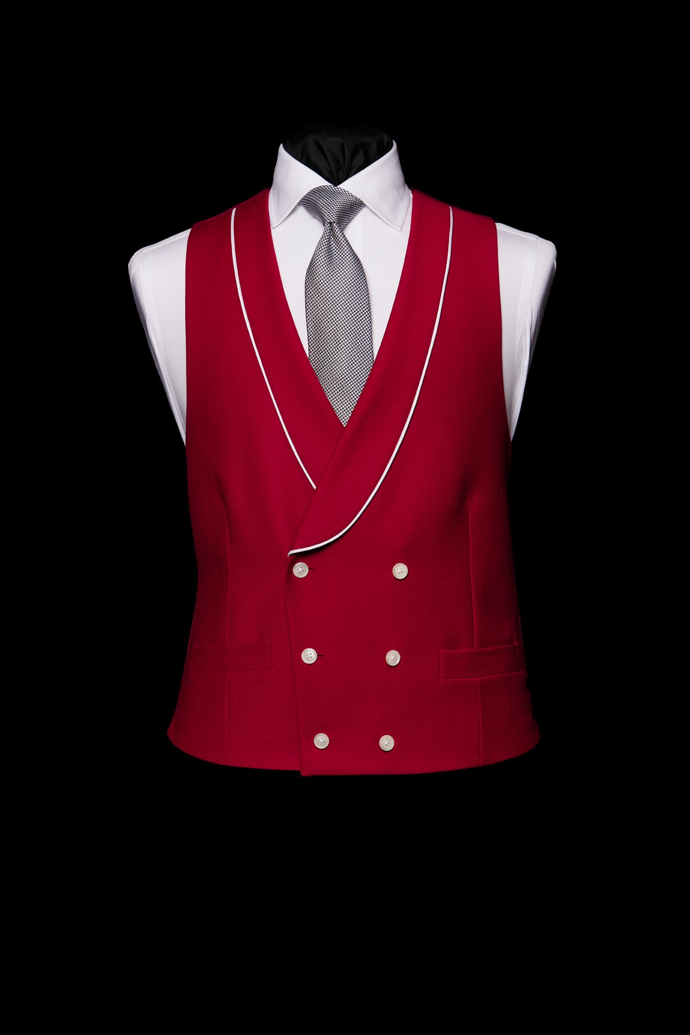 Red double breasted wool waistcoat with white silk piping