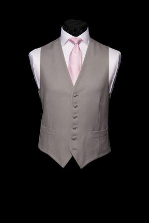 Dove grey single-breasted grey wool waistcoat