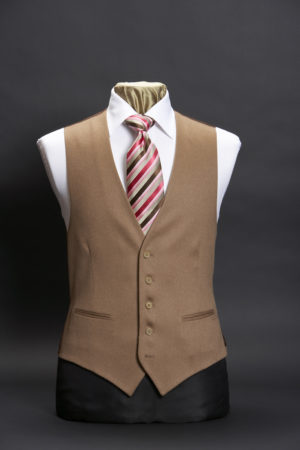 Mens Single breasted fawn beige cashmere waistcoat