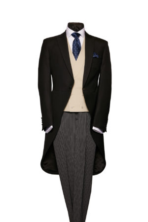Plain black light weight morning coat including waistcoat and grey stripe wool trousers