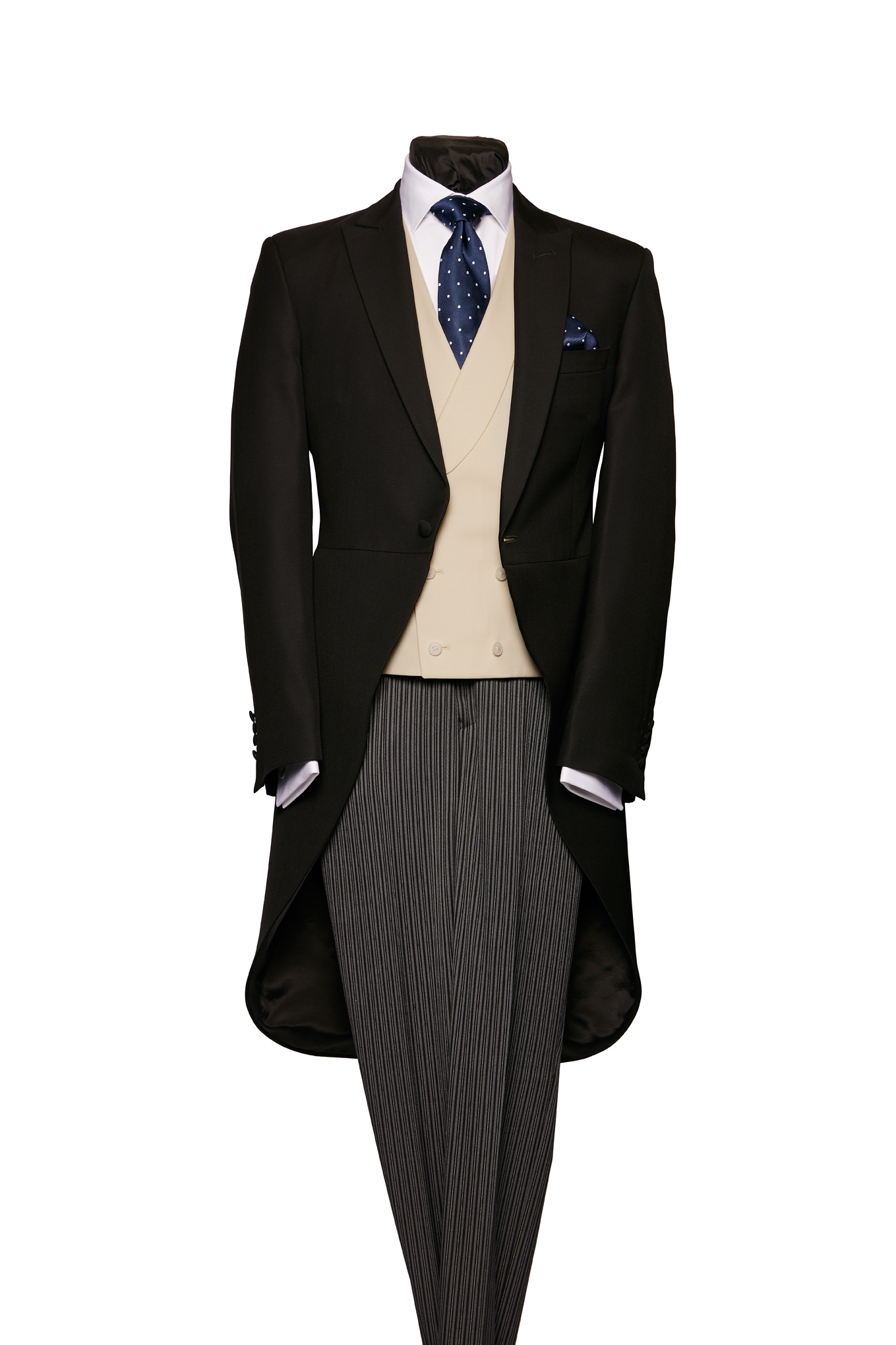 Plain black light weight morning coat with grey stripe trousers
