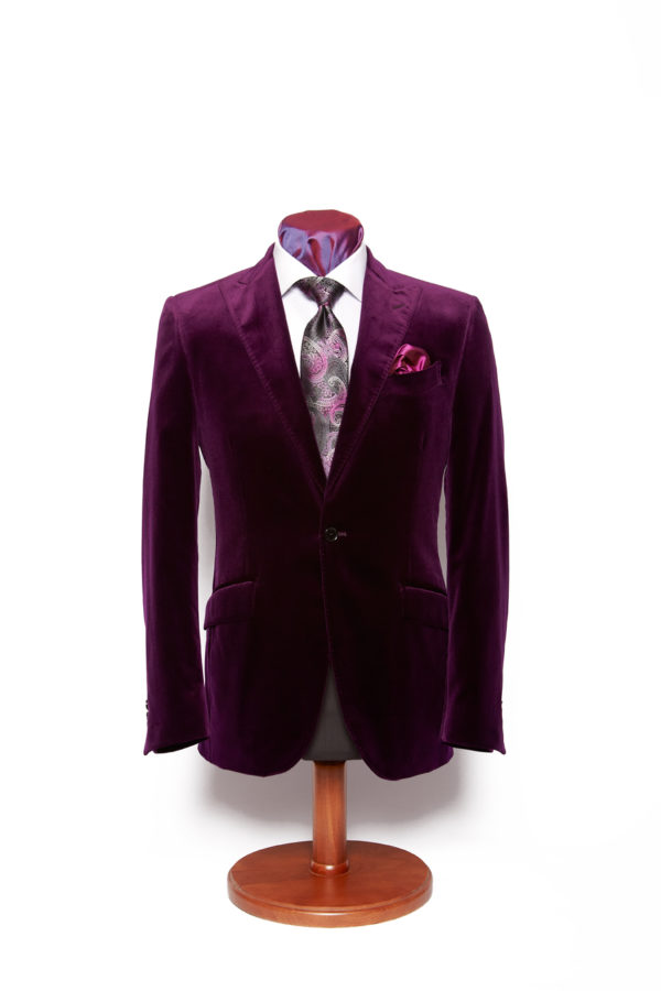 Purple one button velvet single breasted jacket