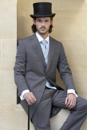 Charcoal grey herringbone lightweight morning suit
