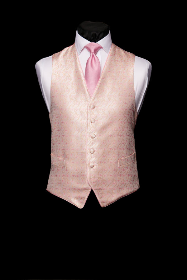 Ivory silk waistcoat with pink tulips and piping