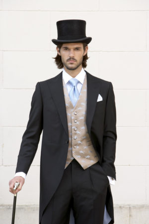Plain black mohair and wool morning suit with matching superfine wool trouser