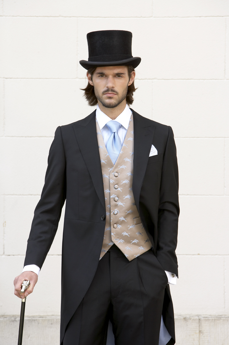 Plain black mohair and wool light weight morning suit