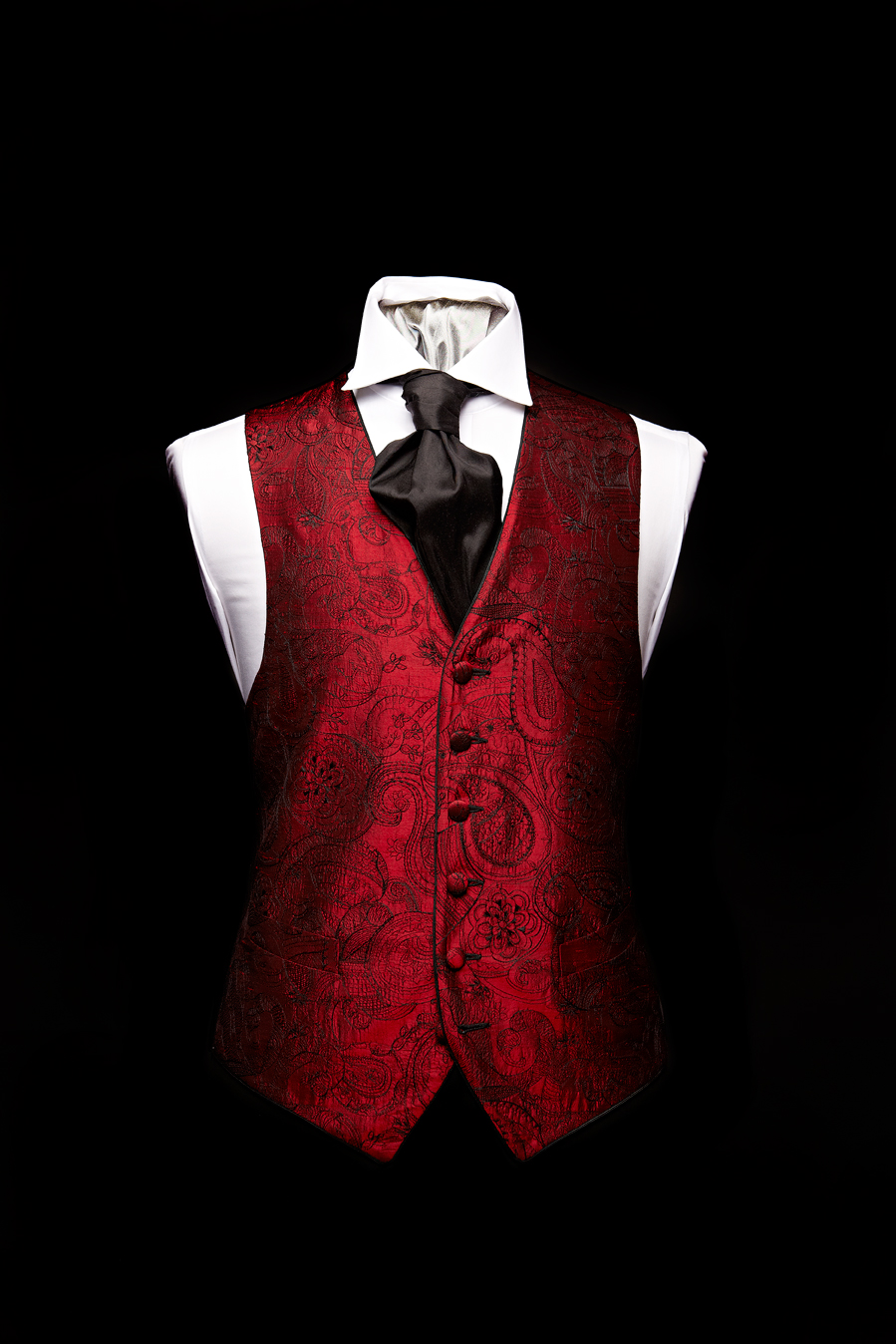 Red and black silk paisley waistcoat with black silk piping