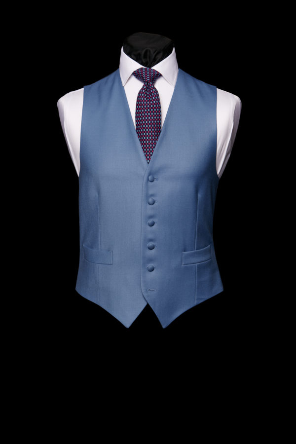 Moonshine blue wool single breasted waistcoat