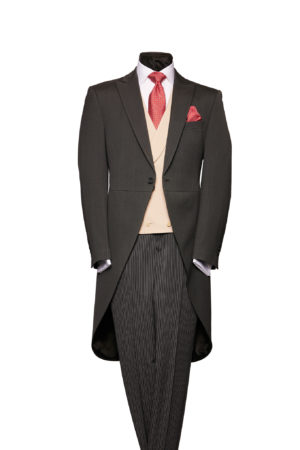Charcoal grey herringbone wool morning coat with grey stripe trousers