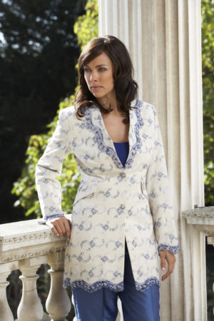 Ivory and blue linen ladies embroidered jacket
