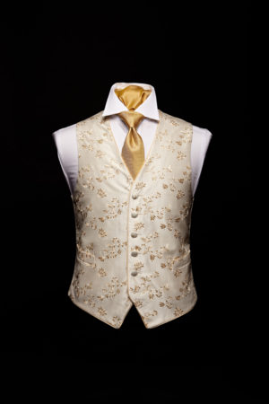 Ivory silk champagne embroidered waistcoat with ivory silk piping