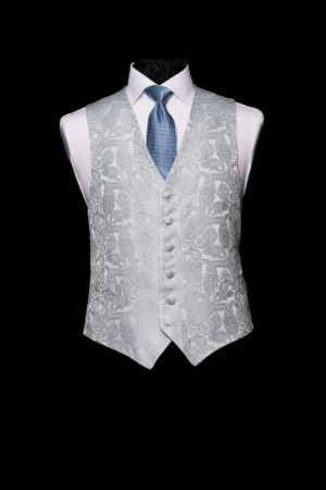 Ice blue vintage silk paisley waistcoat