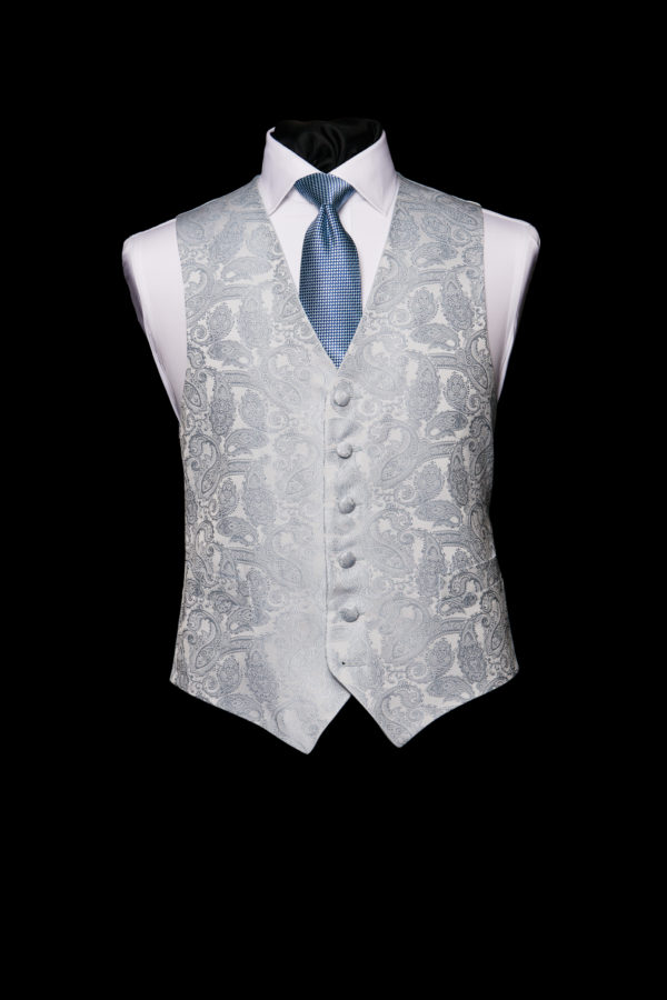 Ice blue silk paisley waistcoat
