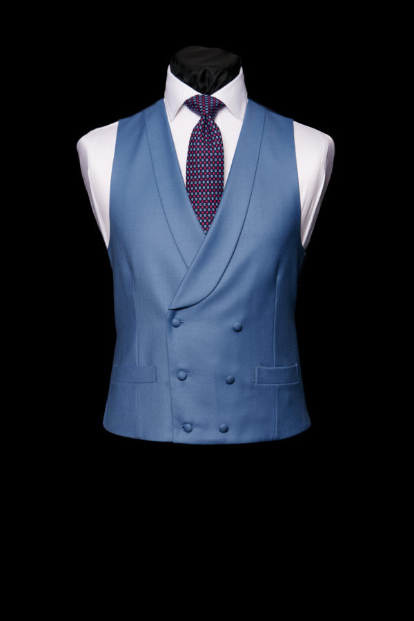 Moonshine blue wool double breasted waistcoat