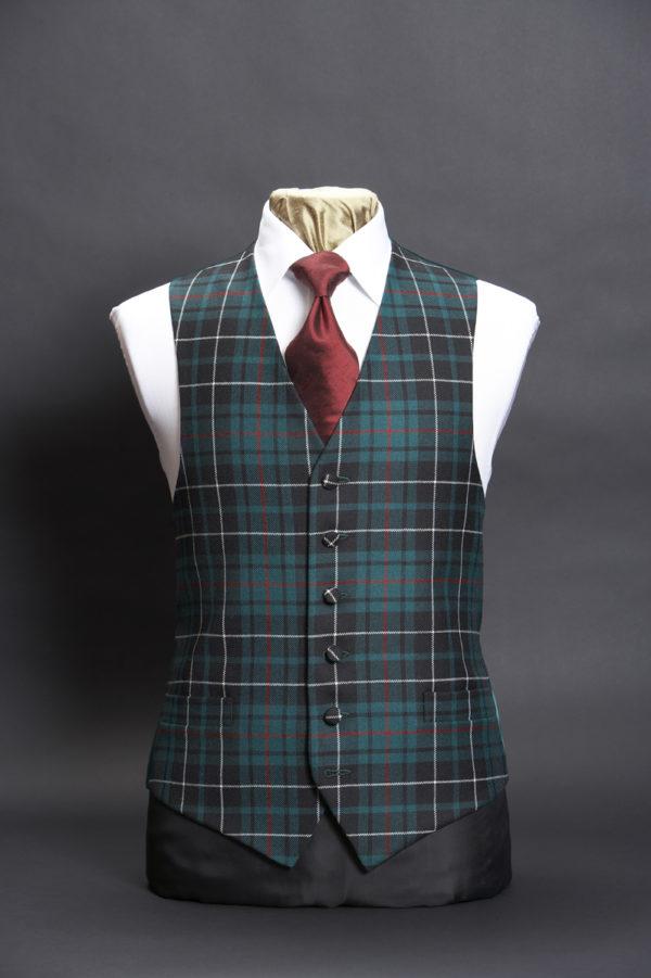 Green and black tartan wool waistcoat
