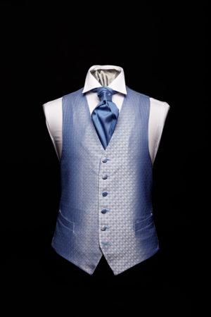 Blue silk diamond pattern lurex waistcoat