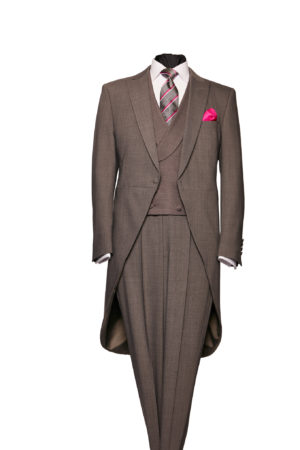 Grey Prince of Wales three-piece morning suit including a waistcoat