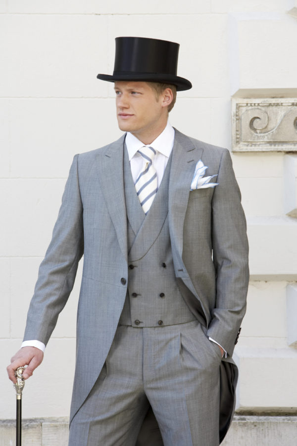 Light grey mohair and wool prince of wales morning suit with matching double breasted waistcoat
