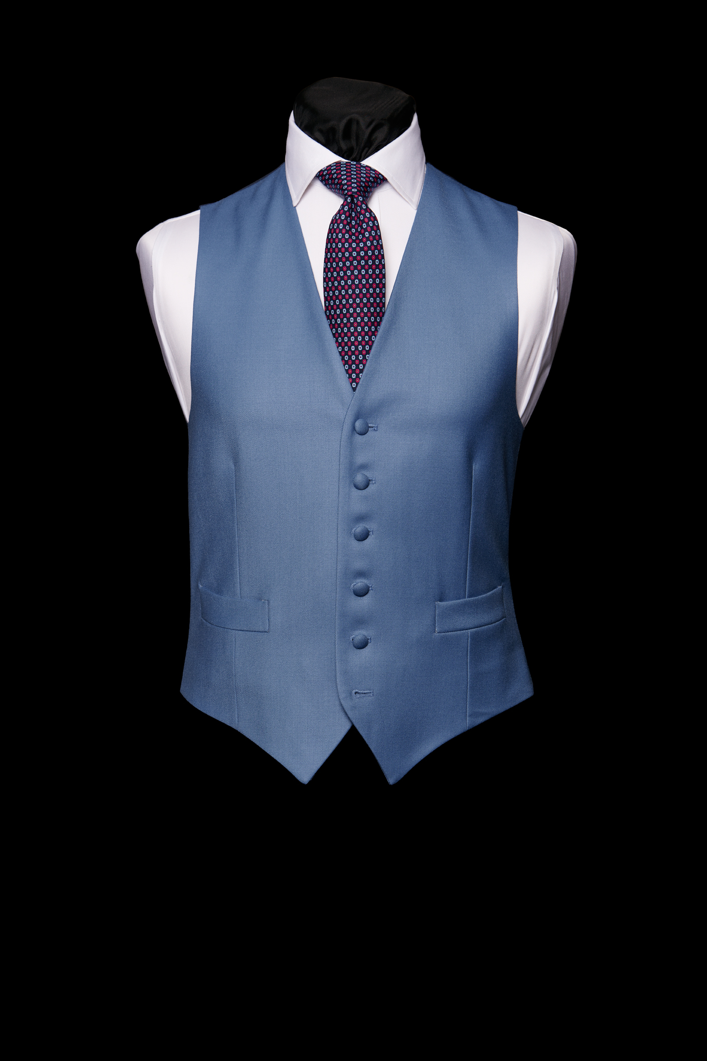 Moonshine blue wool single breasted waistcoat