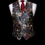 Navy blue silk embroidered limited edition waistcoat with red silk piping