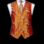 Burnt orange limited edition embroidered waistcoat with red silk piping