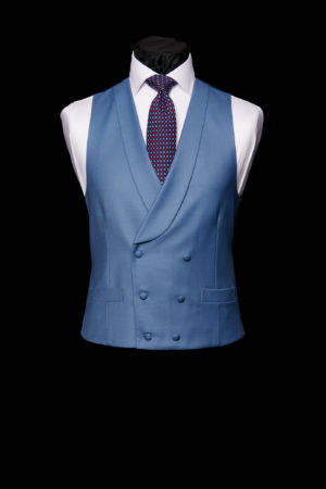 Moonshine blue wool double-breasted waistcoat