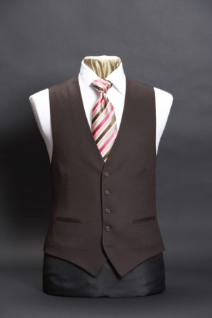 Men's chocolate brown cashmere single breasted six button waistcoat