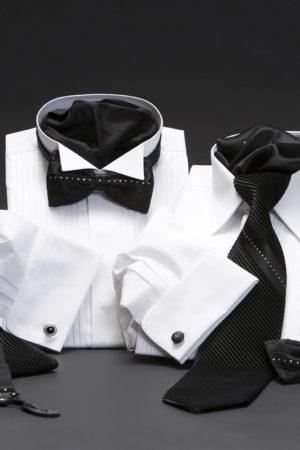 Swarovski pleated silk bow ties and silk pleated Swarovski tie sets