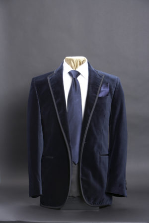 Navy blue velvet jacket with silk piping