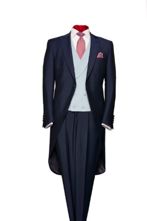 Navy blue wool morning suit