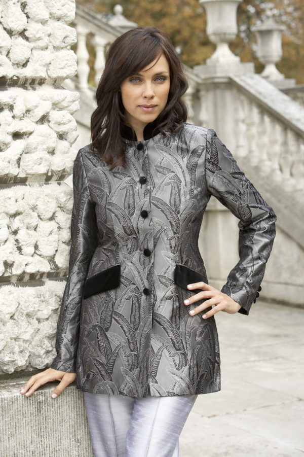 Black and silver ladies banana leaf Nehru jacket with black velvet collar and pockets