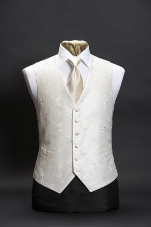 Ivory single breasted silk waistcoat with ivory floral embroidery