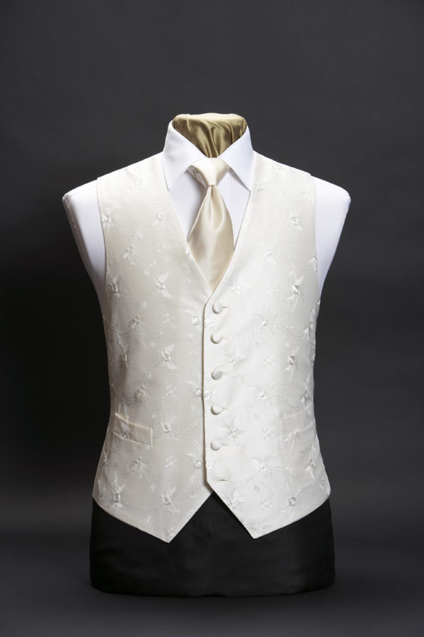Ivory silk base waistcoat with ivory floral embroidery