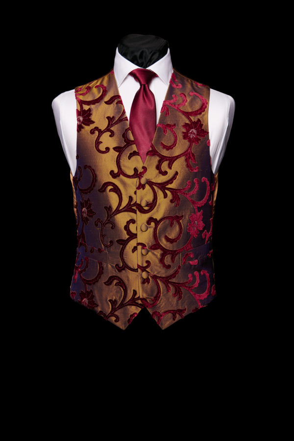 Gold silk waistcoat with burgundy velvet embroidery