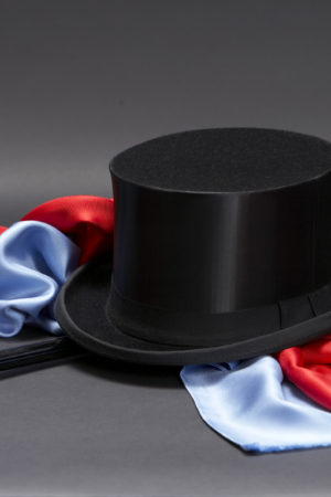 Black silk collapsable silk top hat