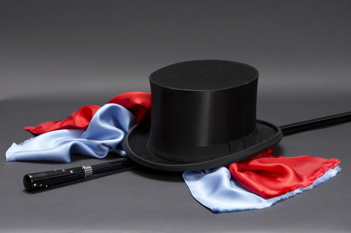 Black collapsable silk top hat