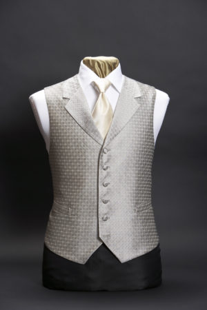 Silver diamond lurex silk waistcoat with lapels