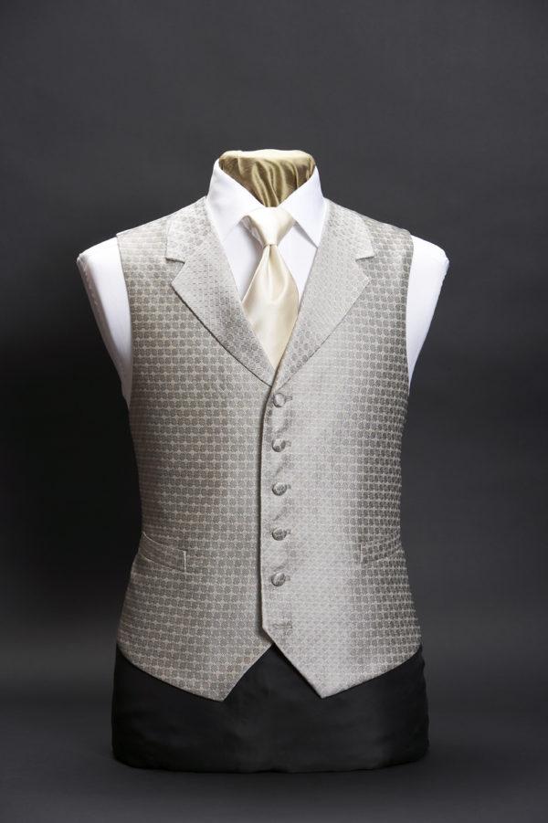 Silver silk diamond lurex waistcoat with lapels