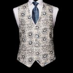Ivory silk waistcoat with blue and silver embroidery with ivory silk piping