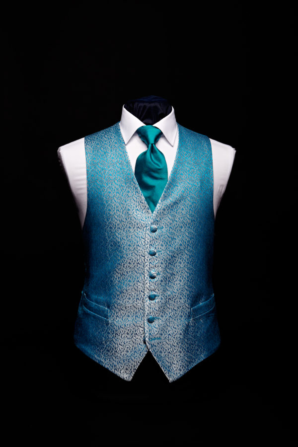 Turquoise blue and silver silk jacquard waistcoat limited edition