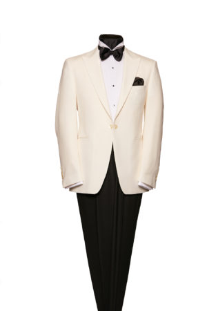 White wool single-breasted one-button peak lapel dinner jacket