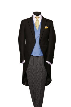 Black herringbone morning coat with silk piping and grey stripe wool trousers