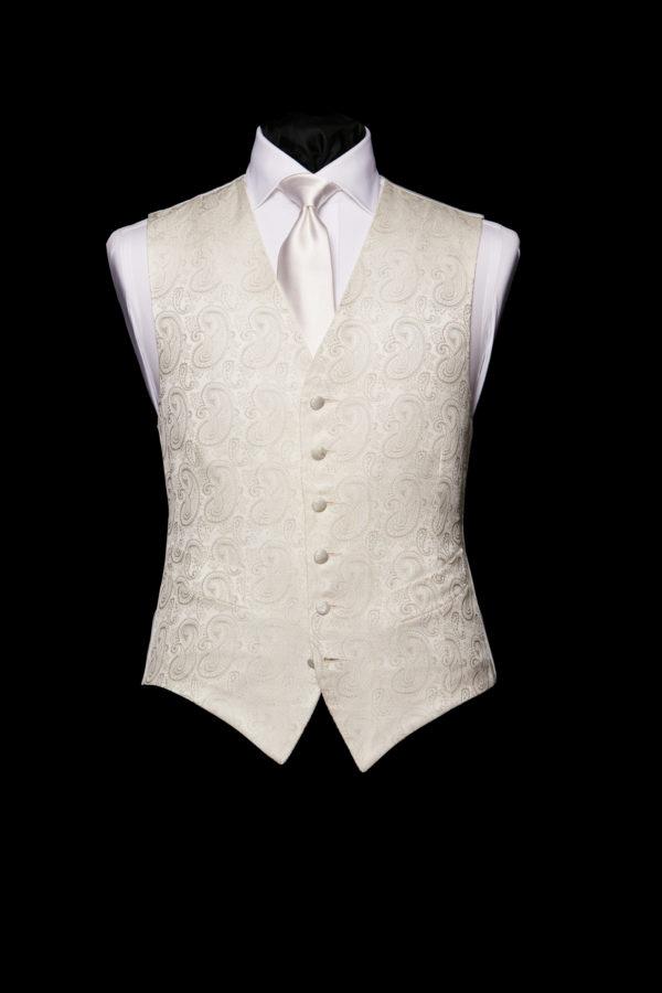 Ivory silk paisley waistcoat