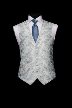 Ivory silk waistcoat with light blue embroidery with silk piping
