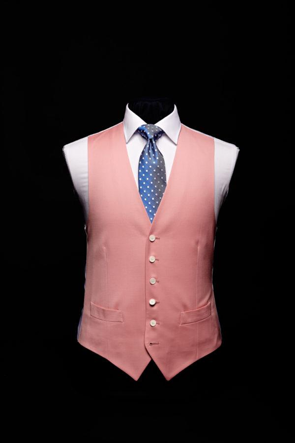 Pink wool gaberdine single breasted waistcoat