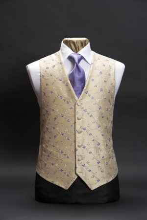 Cream silk embroidered waistcoat with lilac and blue flowers