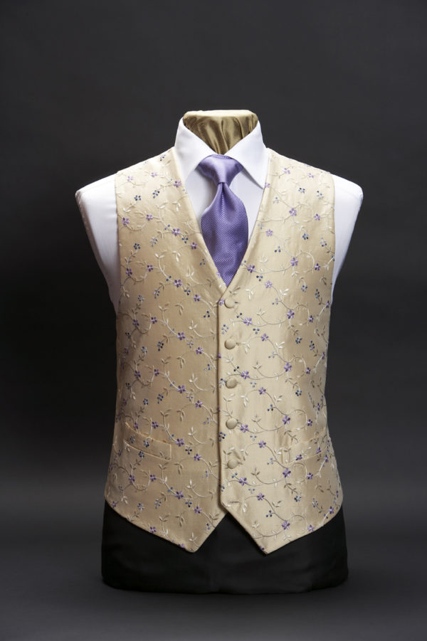 Cream silk waistcoat with small lilac and blue embroidery