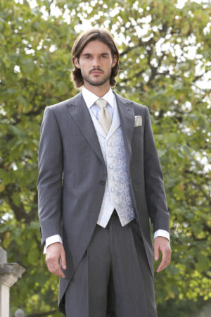 Lightweight grey wool herringbone morning suit